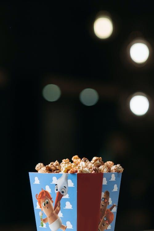 White and Blue Popcorn Box