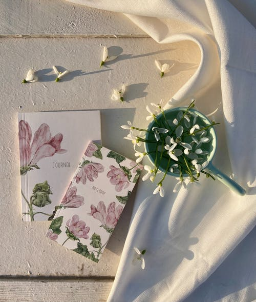 Top view of thin white flowers in pot near notepads placed on crumpled white fabric on wooden floor in sunlight