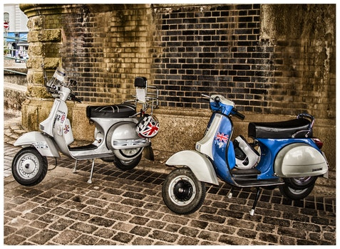 White and Blue Scooter Motorcycles