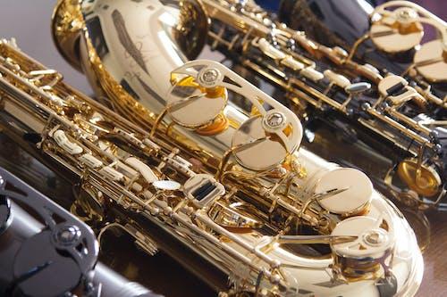 Close-Up Shot of a Gold Saxophone