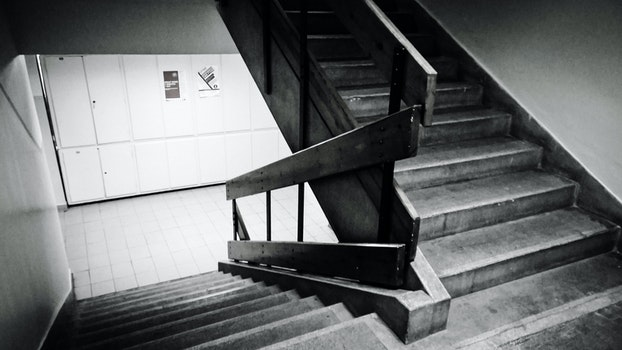 Grayscale Photo of Staircase