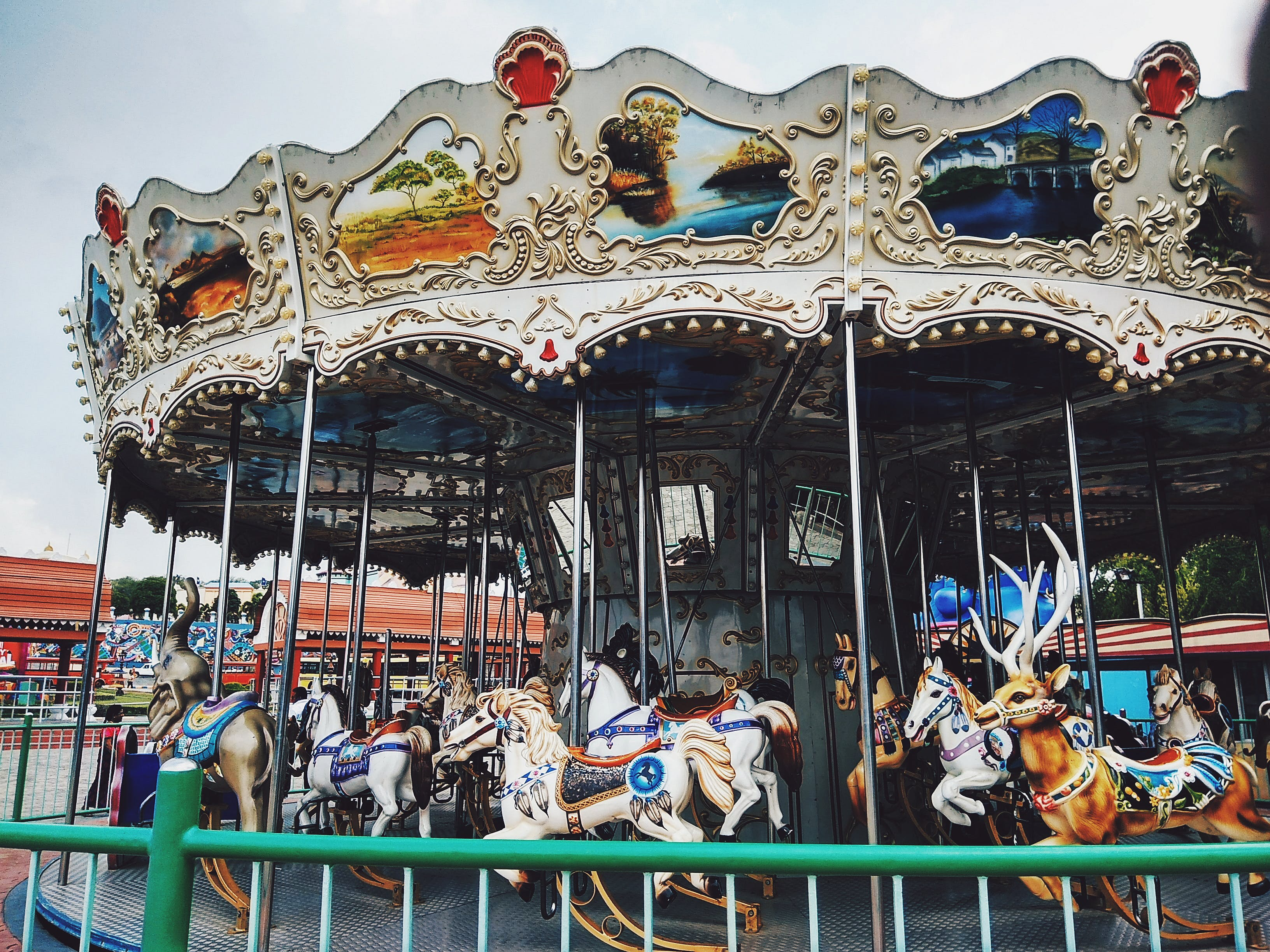 White and Green Carousel