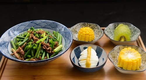 Egg, Corn, Kiwi With Bowls