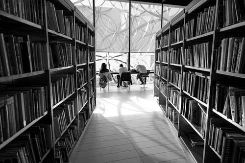 Black and white back view of distant anonymous group of visitors studying at table in library with assorted books on bookshelves