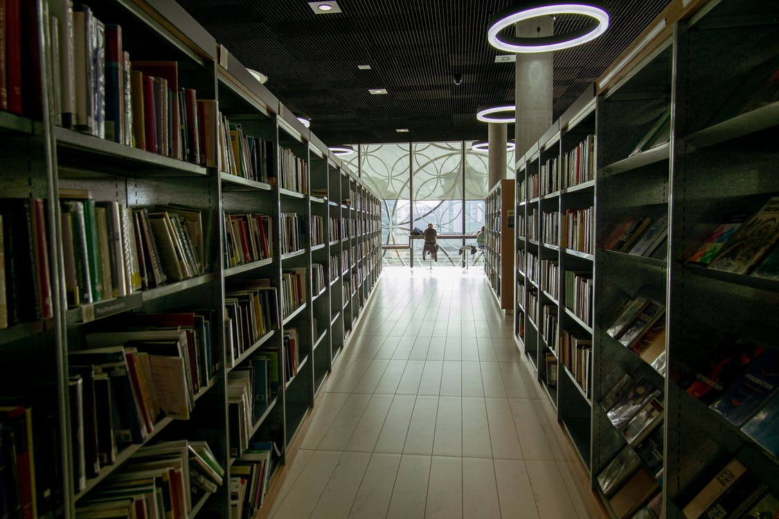 Interior of library with bookshelves