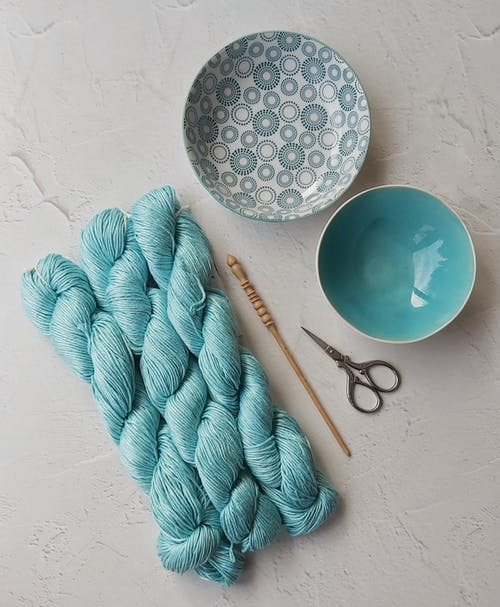 Blue Rope on White Table