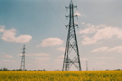 Power lines located in field