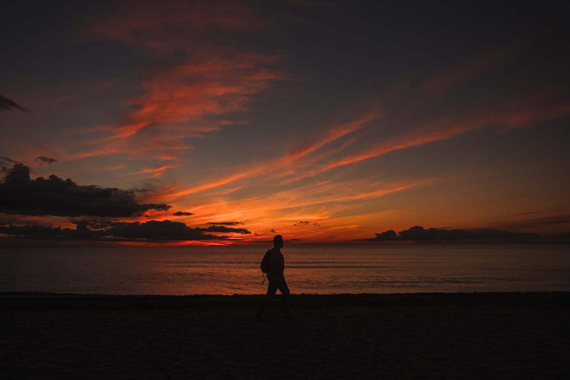 Anonymous backpacker silhouette walking on sea shore under sunset sky