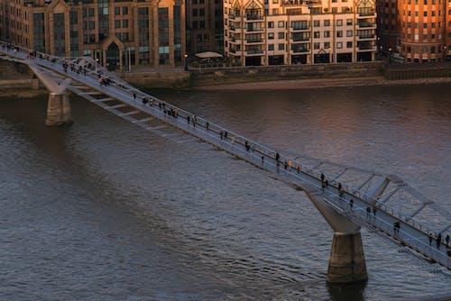 Millennium bridge over rippling river
