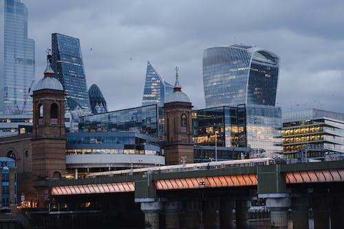 Modern skyscrapers near bridge in London