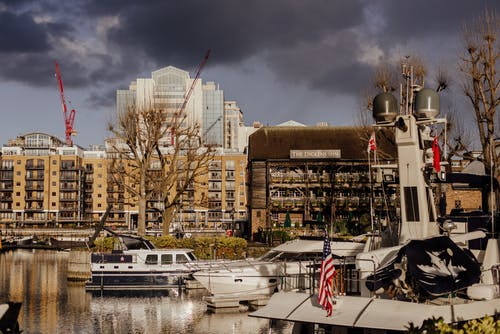 Boats floating in St Katharine dock