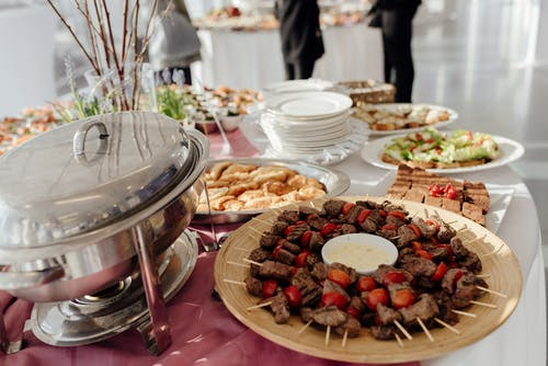 Delicious kebab on buffet table