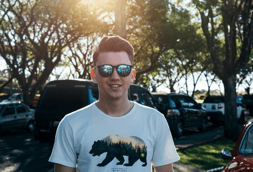 Man Wearing White and Black Bear Printed Shirt and Sunglasses