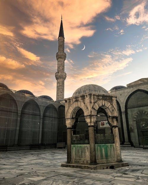 Free stock photo of beautiful sky, blue mosque, bluesky