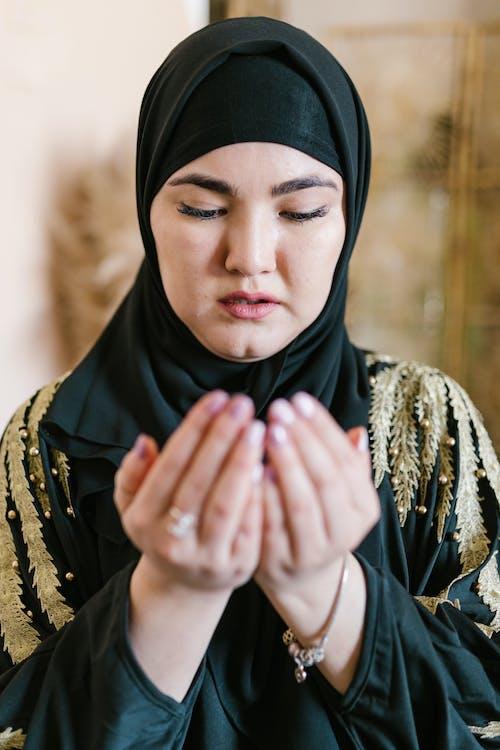 Woman in Black Hijab Prayingtra