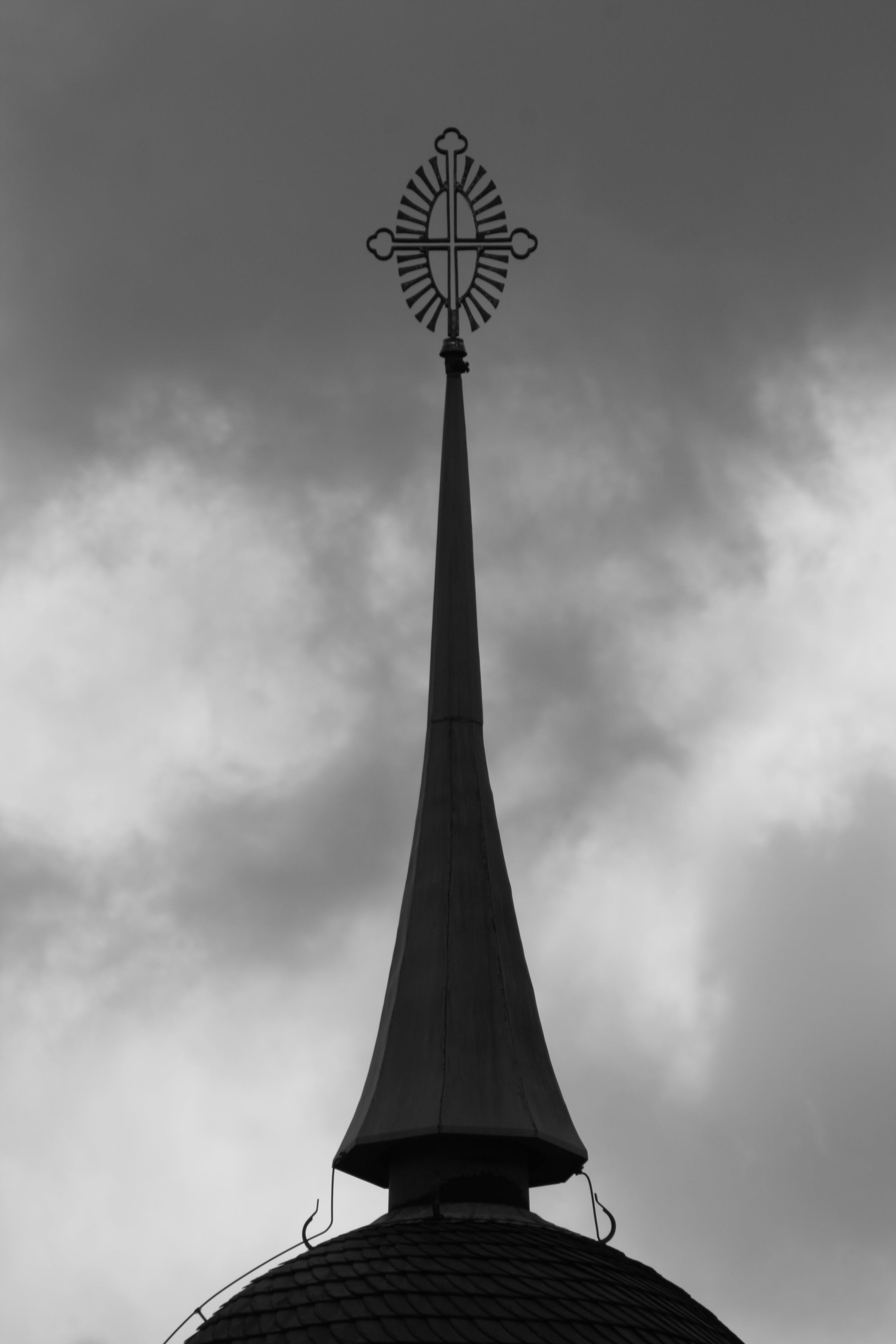 Free stock photo of black-and-white, church, cross, rooftop