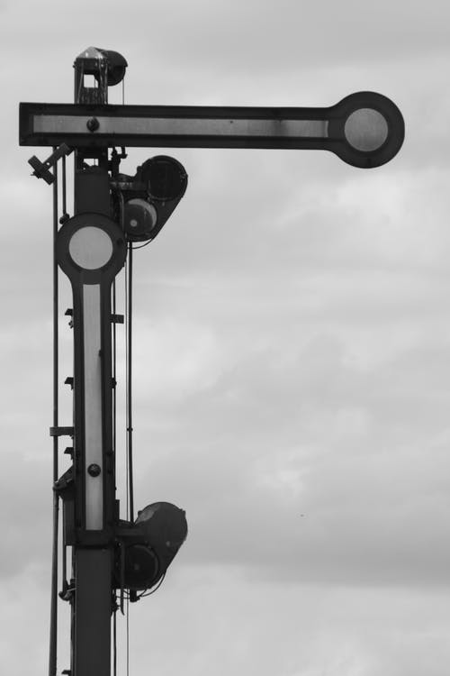 Free stock photo of black-and-white, railroad, sign, signal