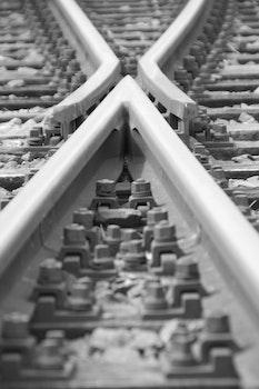 Free stock photo of black-and-white, rails, railroads