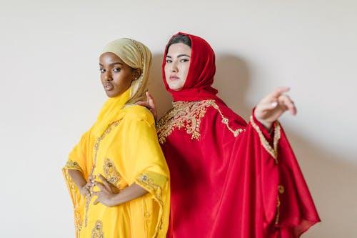 Woman in Yellow Hijab and Abaya