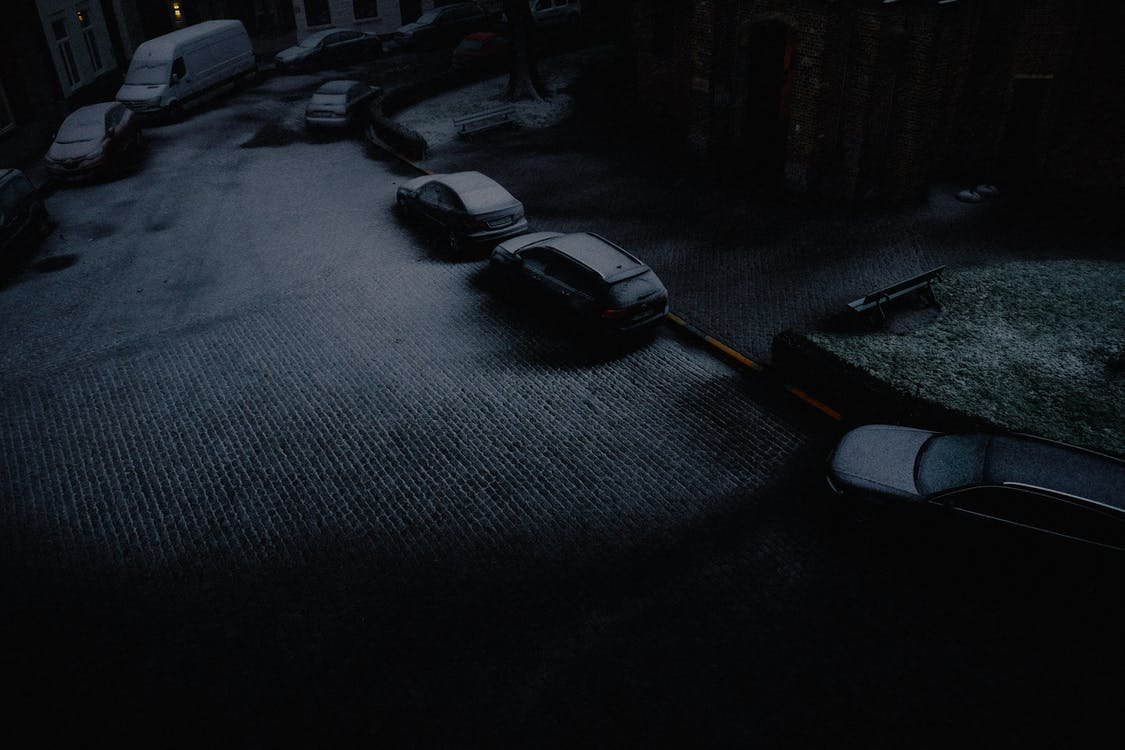 Free stock photo of snow bruges cars