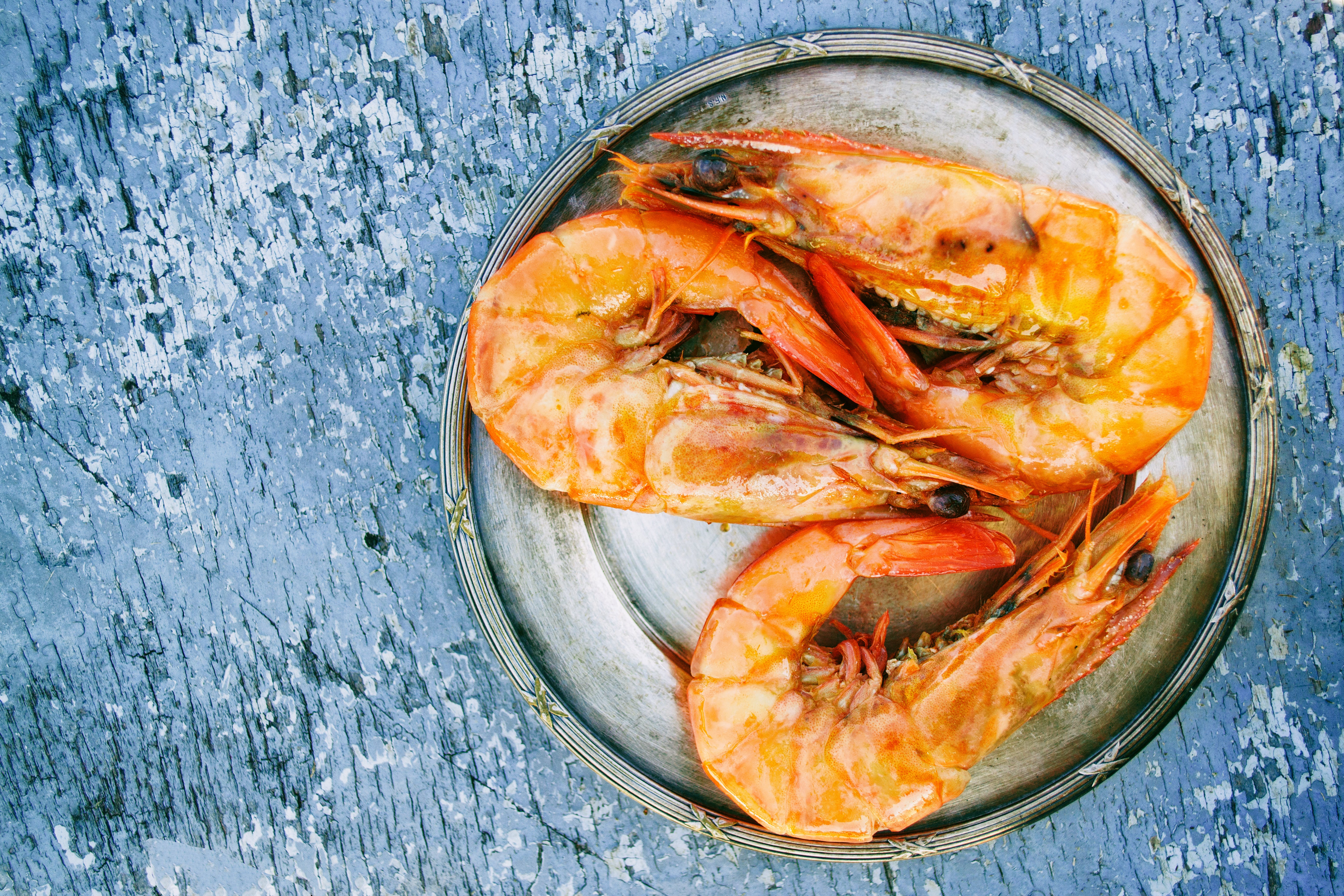 Three Cooked Shrimps on Can