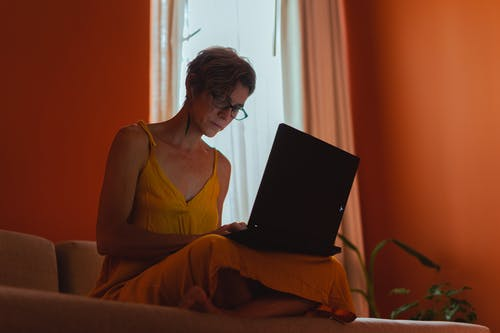 Elderly Woman Using Her Laptop
