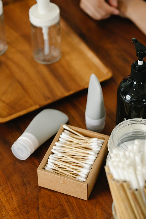Set of skincare products on table