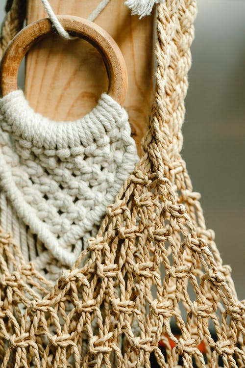 Beige and white crochet bags