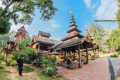 Foto stok gratis Arsitektur, Asia, atap, biru