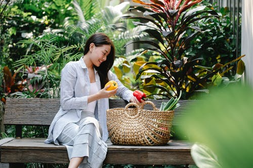 Content Asian female wearing casual outfit placing fresh yummy capsicums in wicker basket while sitting on wooden bench in verdant garden