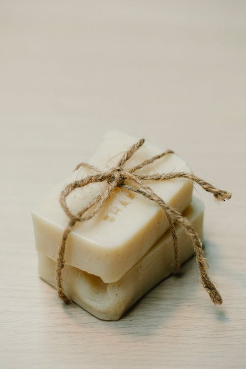 Eco friendly soaps placed on table