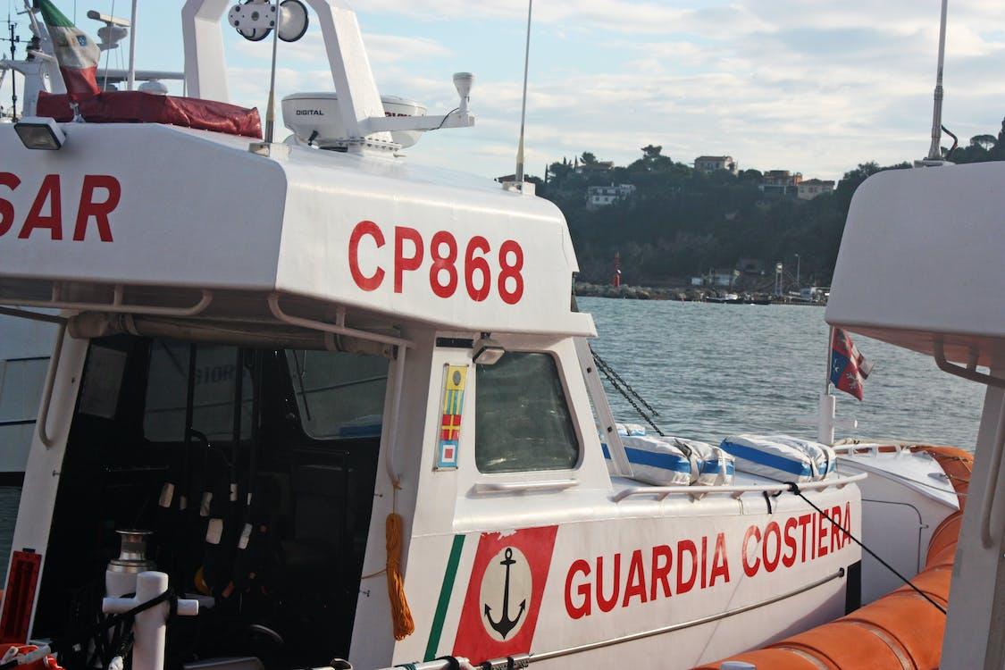 blue sky, boat, coast guard