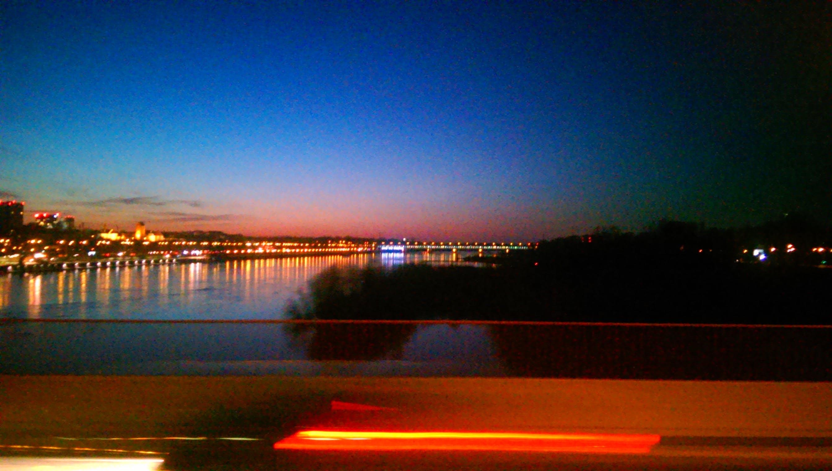 Free stock photo of bridge, lights, river, sky