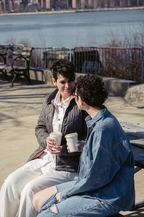 Positive young trendy female friends with short dark hair in casual clothes chatting on bench on river embankment and drinking takeaway coffee during break in sunlight