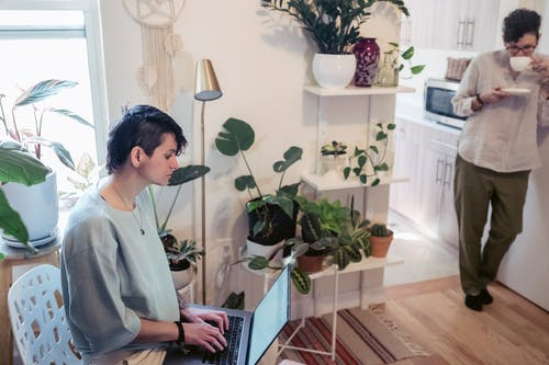 Side view of concentrated self employed woman with short haircut in casual outfit sitting on chair and working on laptop at home near female friend drinking hot coffee