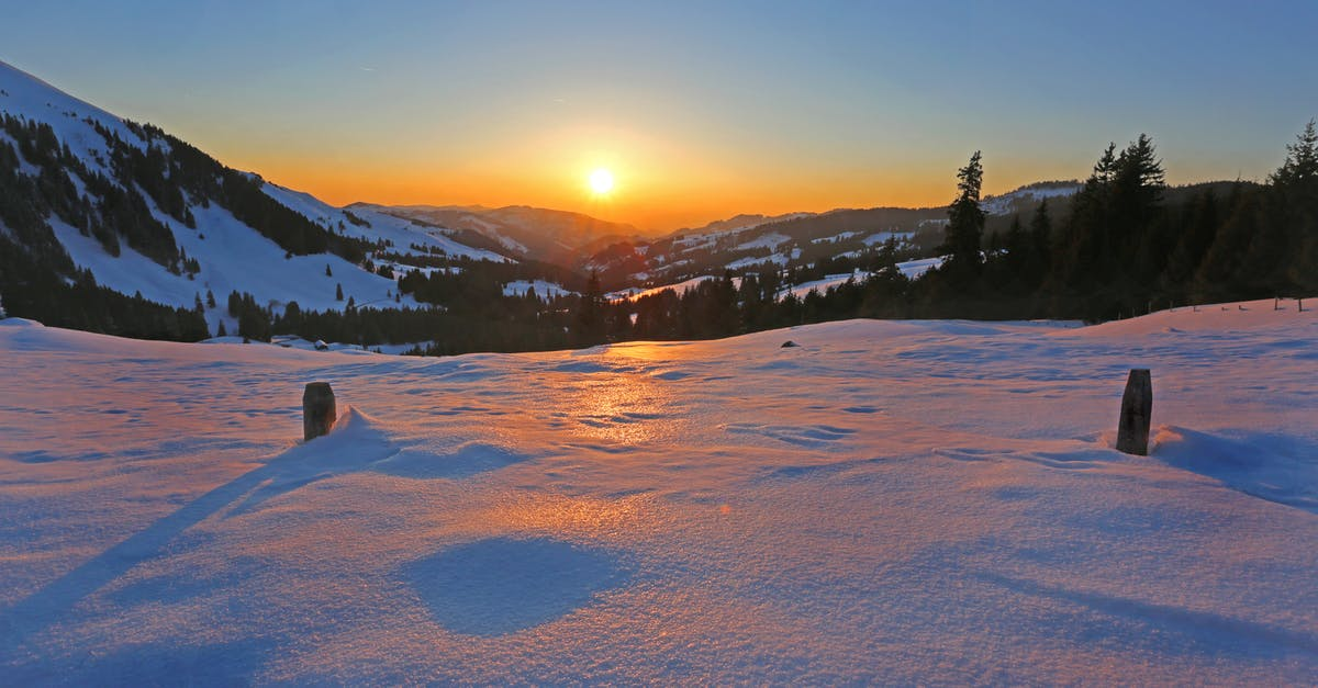 Sun Rising In Horizon Over Snow Coated Mountains 183 Free