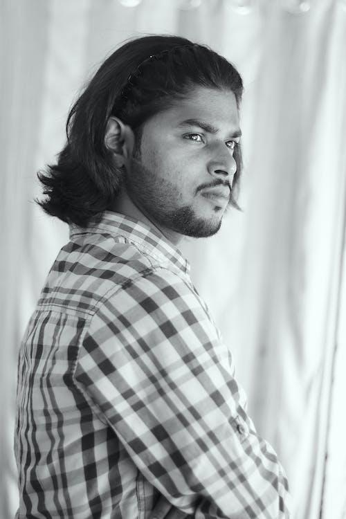Monochrome Photo of Bearded Man in Plaid Shirt