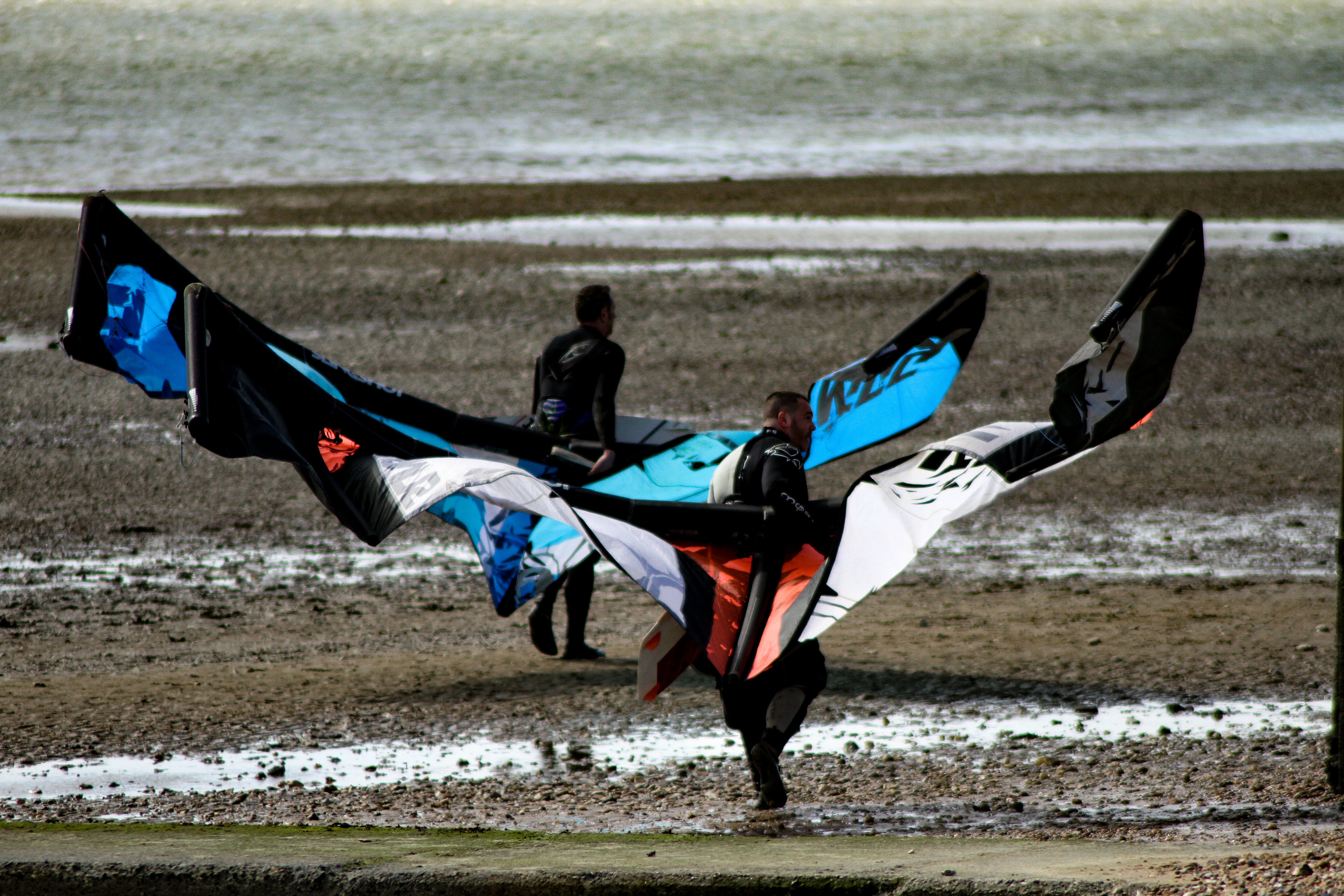Men Carrying Black Red and White Kite