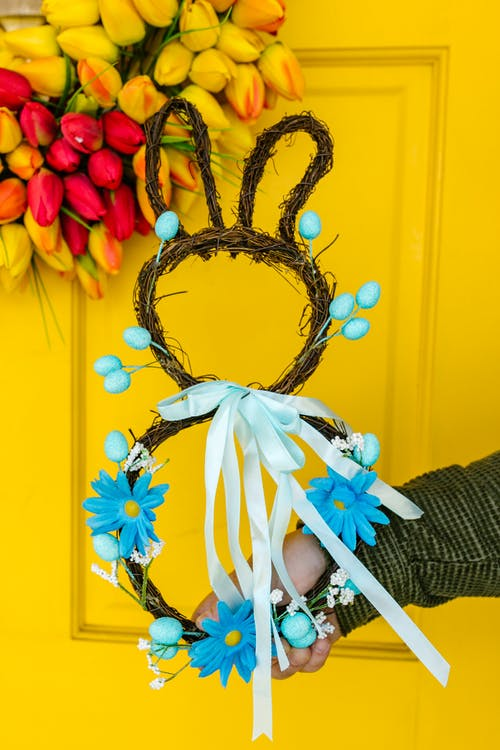 Blue and Red Floral Wreath