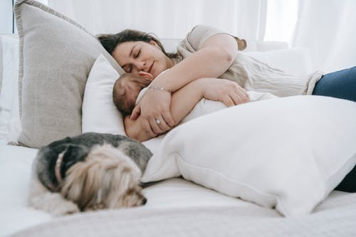 Caring female embracing newborn baby embracing newborn baby while sleeping together on comfortable bed with pillows and morkie dog in bedroom