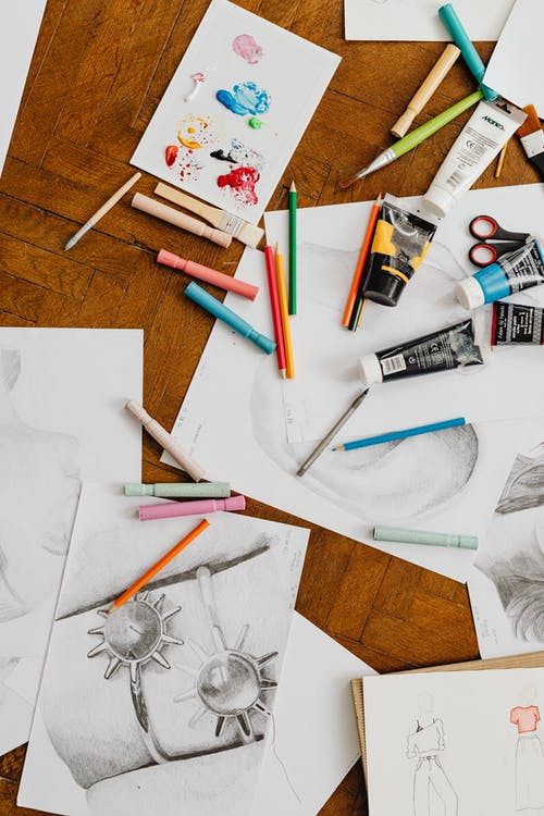 Artworks and Art Materials on the Floor
