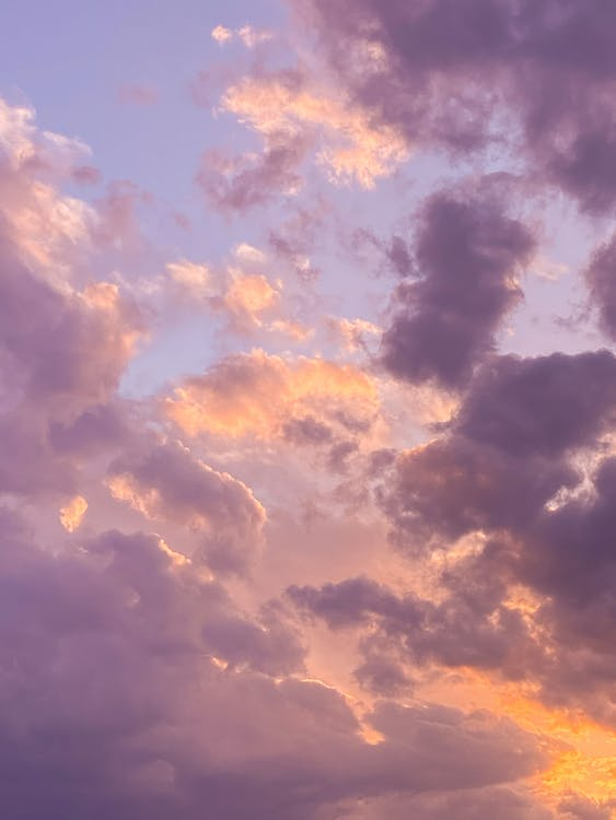 From below of thick cumulus clouds floating high in air on bright sky with orange beams in nature on evening time