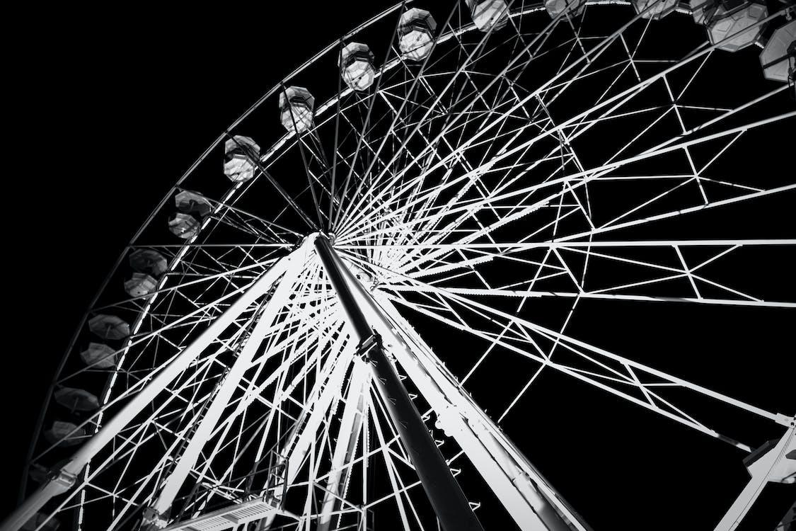 černobílá, jízdy, karneval