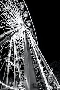 Grayscale Photo of Ferris Wheel