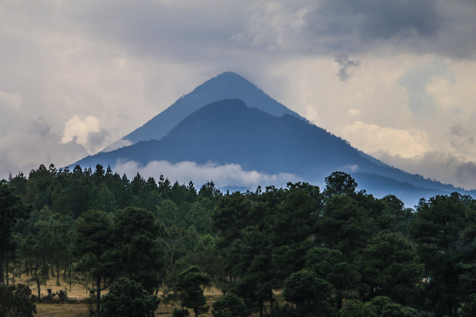 Silhouette of Mountain With Trees Photography