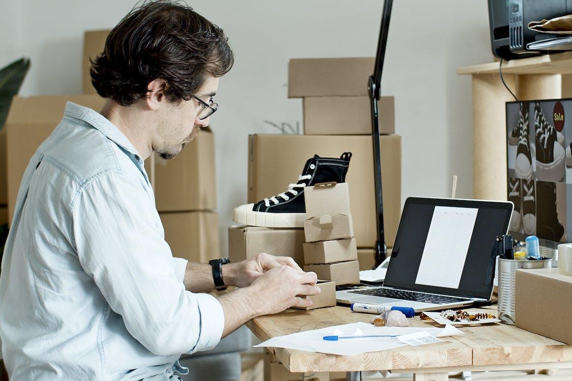 Man Preparing Packages