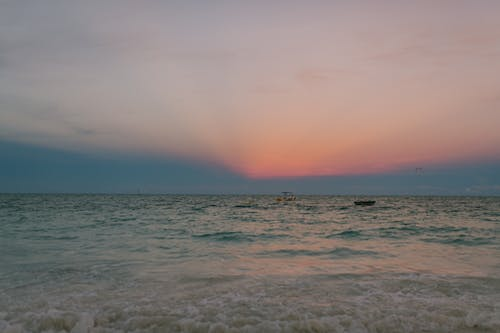 Scenic sunset over sea in summer