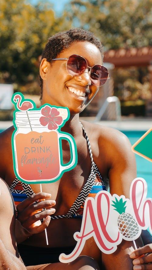 Woman in Bikini Smiling