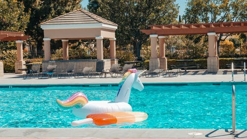 Two Inflatable Pool Floats on the Swimming Pool