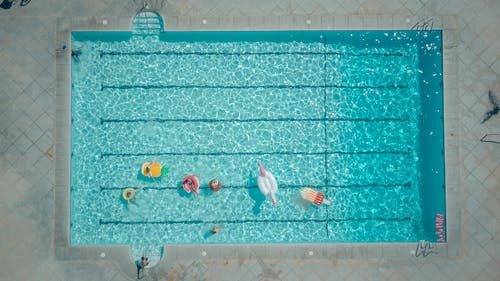 Top View of People in the Swimming Pool